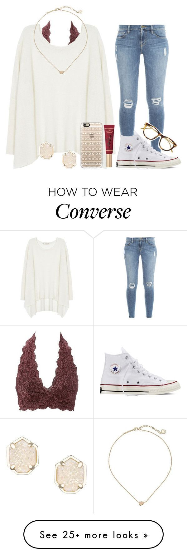 """""""READ DESCRIPTION PLEASE!!!"""" by chevron-volleyball on Polyvore featuring Frame Denim, Charlotte Russe, Century Seven, Kendra Scott, Linda Farrow Luxe, Too Faced Cosmetics, Casetify and Converse #schooloutfits"""