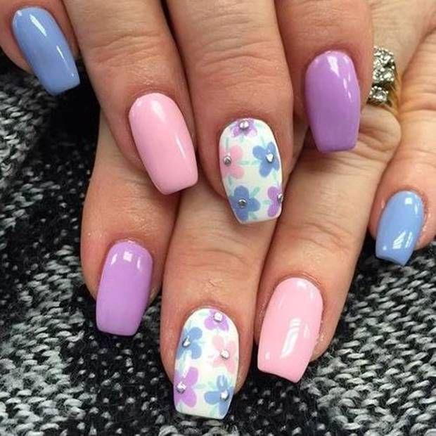 احدث الوان مناكير باستيل و بنفسجي و فضي و سماوي 2019 Latest Nail Polish Pastel Violet Silver A Bright Nail Art Pastel Nails Designs Cute Spring Nails