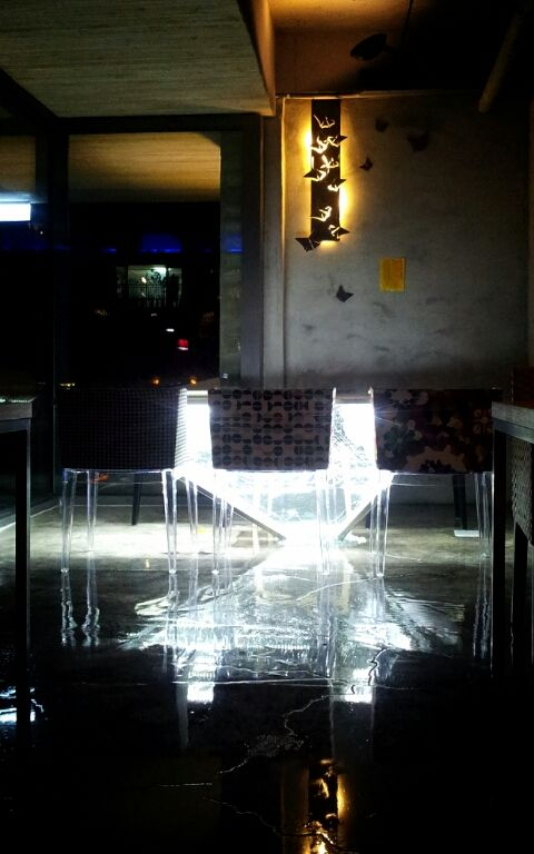 broken glass table with light, anyang, south korea. modern architecture house