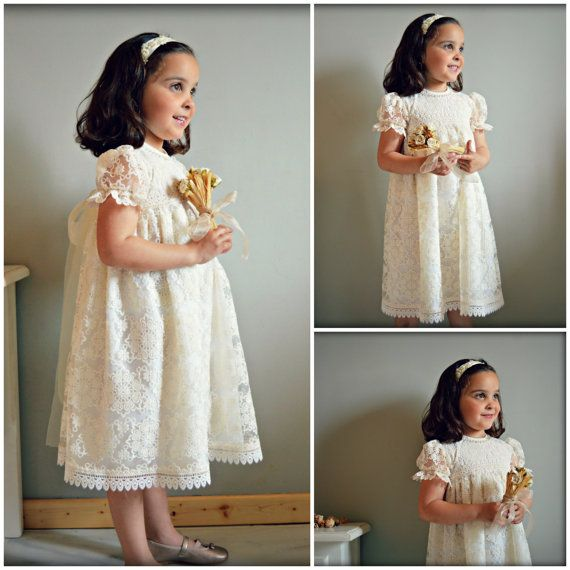 LOLA. 1T to 6Y.Toddler.Girl.Ivory lace por Moniquesthingsshop