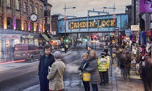Archie Bland on a walking tour of Camden with his guide, Mike. Photograph: Sarah Lee for the Guardian