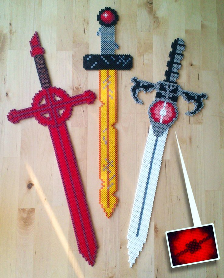 More of my perler swords. This time: famous swords from cartoons. Adventure time and Thundercats. And also, glow in the dark! Demon Sword - Adventure Time Golden Sword - Adventure Time Sword ...