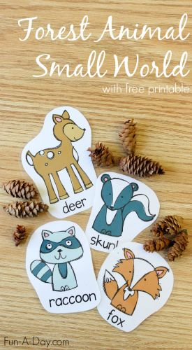 Free printable forest animals for use with a play dough forest small world! Children can create their own forests, as well as stories for the animals!