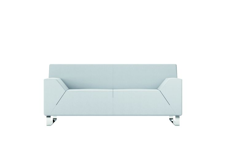 Still life of Asso white armchair. 2 or 3 seater sofa. Chrome steel feet.