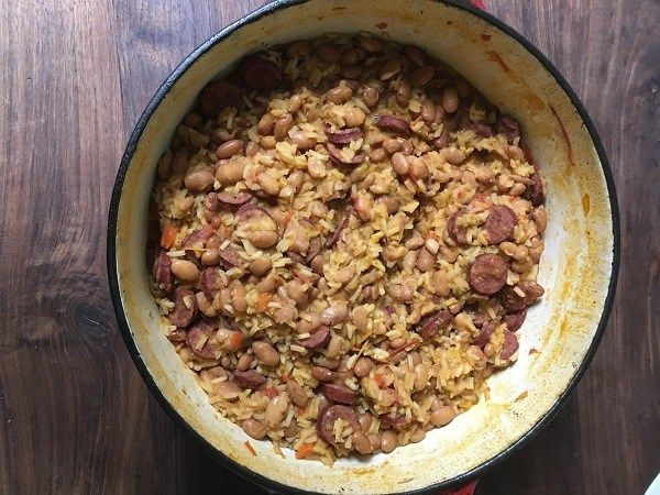 Red Beans and Rice with Linguica Sausage