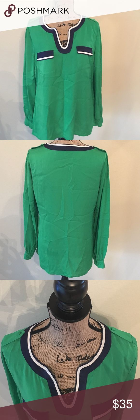 👉NWOT👈 Nautical Blouse Beautiful long sleeve blouse in excellent condition, never worn. Purchased at Stein Mart. Has a nautical feel with a pop of green. Dress it up with navy slacks and blazer or dress it down with dark denim jeans ...of course keep the blazer...or not! 😘👍 You can't go wrong. Would like to get as of purchased price but will take offers. Tops Blouses
