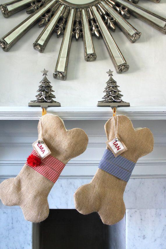 Personalized Dog Christmas Stocking Unique burlap by KlaudiaDecore