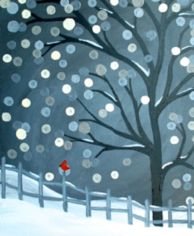 Scarlet Winter, The skies outside are cold gray, and the snow is falling so peacefully. You're enjoying your warm and cozy house, and the view of the snow falling so elegant… Your eyes mostly see white and gray, yet a small creature of color captures your eye, a beautiful cardinal has brought you a Red Winter!