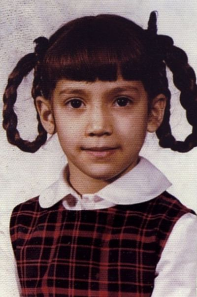 Jennifer Lopez as a girl oh man I'd kill my mother if she ever did my hair like this
