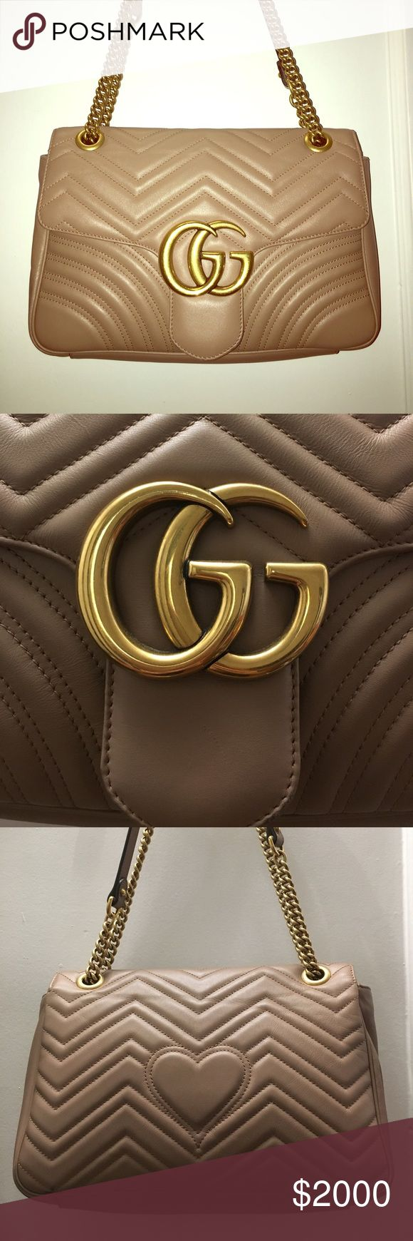 """GUCCI GG Marmont matelassé shoulder bag - beige Authentic Gucci GG Marmont bag from 2017 Collection. Beige nude matelassé chevron leather with a heart - Antique gold toned hardware Double G - Internal zip and smartphone pockets with an open horizontal case for larger phones - Sliding chain strap can be worn as a shoulder strap with 22"""" drop or can be worn as a top handle with 12"""" drop Flap with spring closure Medium size: 12""""W x 7.5""""H x 3""""D Microfiber lining with a suede-like finish Made in…"""