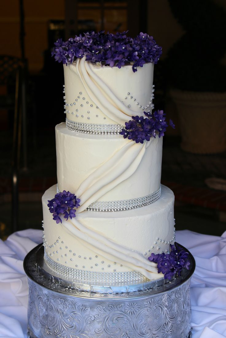 Buttercream Wedding Cake with Regal Purple Sugar Hydrangeas and Edible Bling
