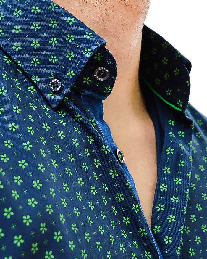 Stone Rose Floral Print Designer Dress Shirt - NAVY GREEN