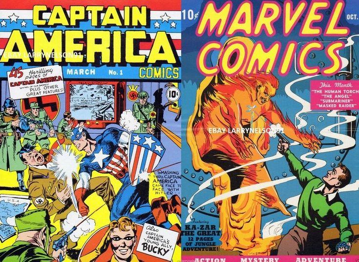CAPTAIN AMERICA COMICS #1 POSTER MARVEL COMICS #1 HITLER HUMAN TORCH BUCKY NAZIS