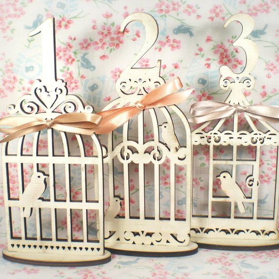 Vintage Bird Cage Wedding Table Number by TheCrossEyedFox on Etsy, £9.50