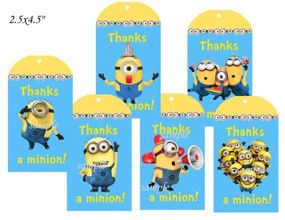 Minions,Minions thank you tags,Minions tags,Minions birthday,Minions labels,Minions party,Minions party favors,Minions party supplies,Minion