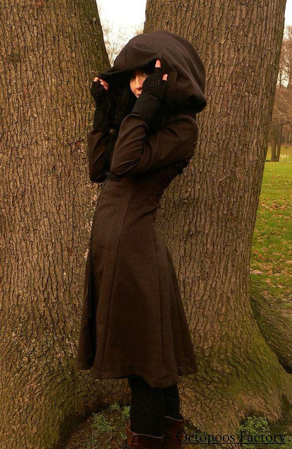Cappotto Steampunk Elisabetha cioccolato riflessi rame (cappuccio staccabile)