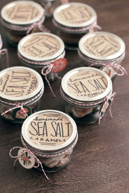 Homemade sea salt caramels in a jar