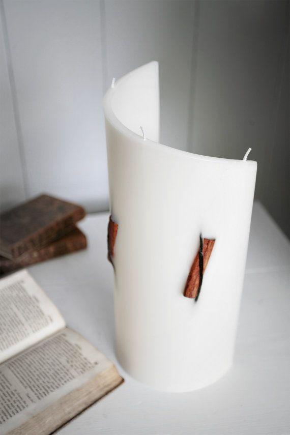 Cinnamon Vanilla Decorative Shaped Candle  Handmade Curve