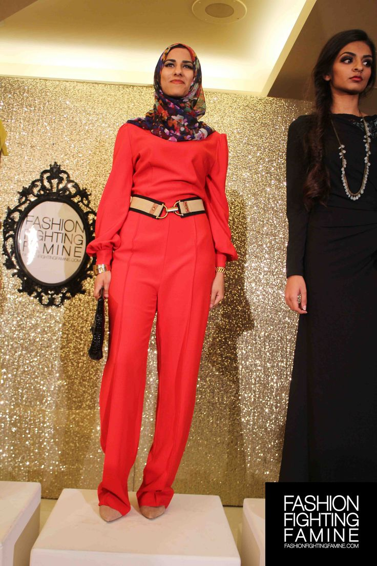 Designer Hijab House at the Fashion Fighting Famine 2013 Presentation Show, as styled by FFF. Photo by r&m photography. Red jumpsuit and floral headscarf.