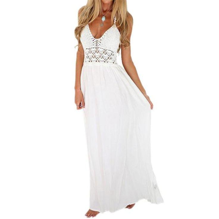 Pas cher Femmes Plage Crochet Dos Nu Bohème Dos Nu Parti Maxi Robe Longue  Casual Summer Beach Blanc Robe Femmes Mode 2018 A20, Acheter Robes de  qualité ... 1172e68a735
