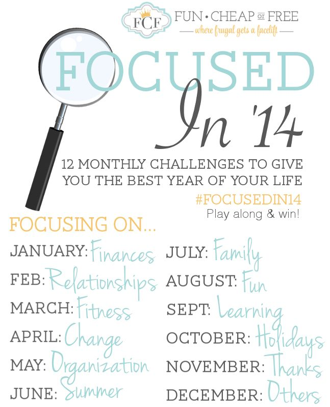 """""""Focused in 14"""" - Monthly challenges to give you the best year of your life! Use the hashtag #Focusedin14 to play along and win huge prizes every month! Sounds so cool!"""