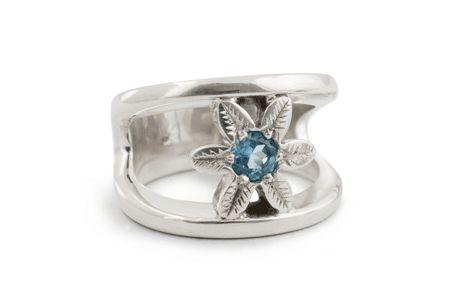 Argentium Silver Split Shank Daisy Ring Set With a Blue Topaz
