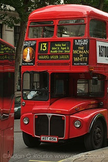 London Routemaster bus route number 13 going through Finchley Road.