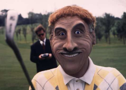 Andy Sinclair as a robotic Bruce Forsyth for the TV show Further Abroad Golf