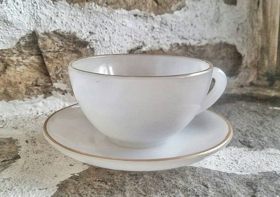 Arcopal France White And Gold Teacup And Saucer Arcapol Harlequin Set Opalescent White Cup And Saucer 0s Vintage Kitchen Espresso Cups Tea Cups White Cups Colored Cups