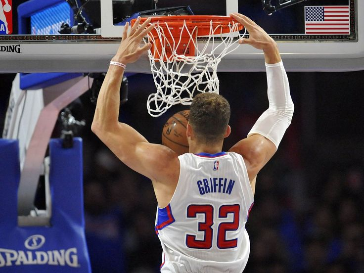 Game 3 in Los Angeles: Clippers 124, Rockets 99 — Los Angeles forward Blake Griffin throws down a two-handed slam.  Gary A. Vasquez, USA TODAY Sports