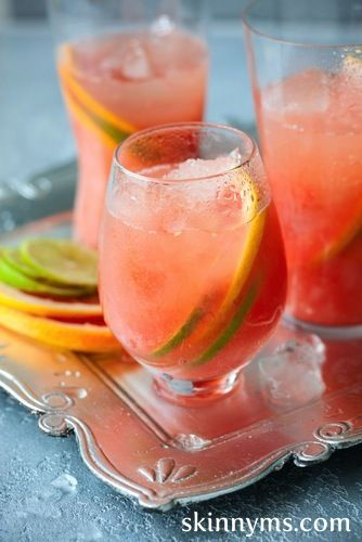 Zingy Pink Grapefruit Soda tastes so much better than store bought versions - it's healthier too!! #skinnyms #drinks