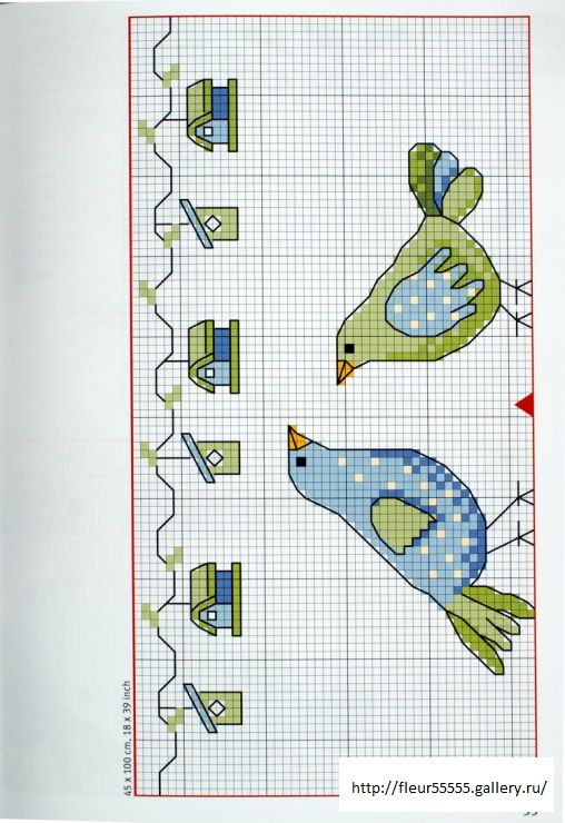 birds and birdhouse border: there are nice ideas on the site for a bell pull and tablecloth