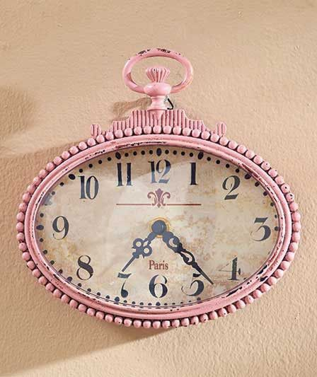Vintage Metal Wall Clock Pink Small Distressed Rustic Primitive Country Decor