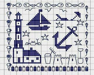 punto de cruz anclas | Punto De Cruz - Mas de 5,000 Gráficos: A LA MAR