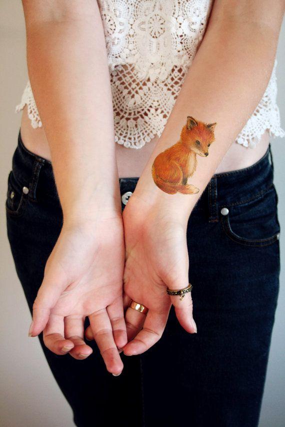 Cute little fox temporary tattoo by Tattoorary on Etsy