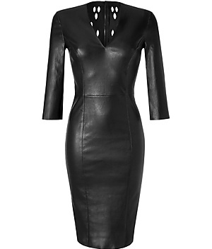 The perfect black leather dress. Timeless