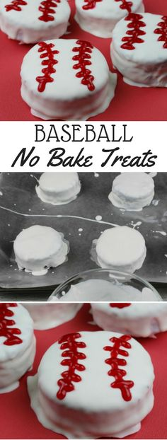 Easy no bake baseball snacks. Baseball snacks that easy to make and not messy to eat. Baseball snacks for kids to make.