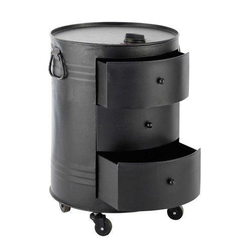 Tavolino da salotto nero in metallo a forma di bidone L 42 cm CLARK