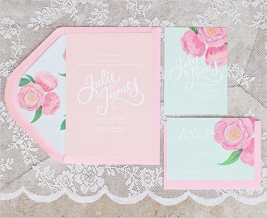 light pink flower wedding invite