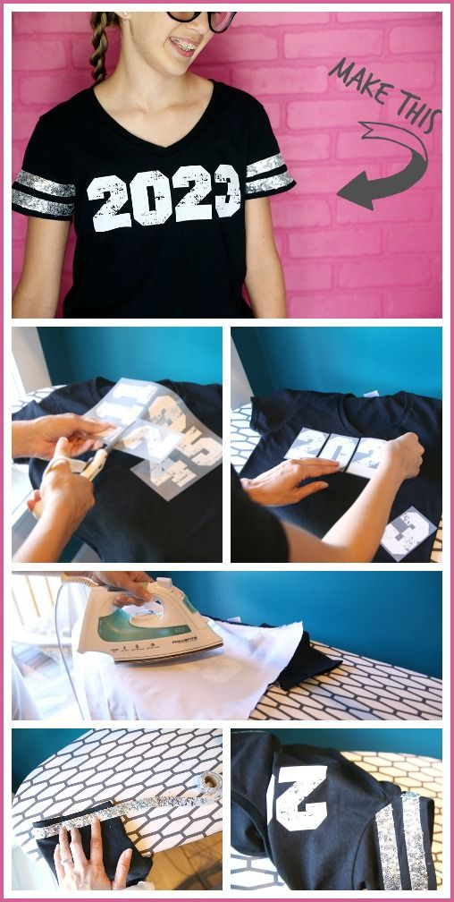 easy way to make your own DIY Grad Year decal Tee – Back-to-School Bling - - Sugar Bee Crafts