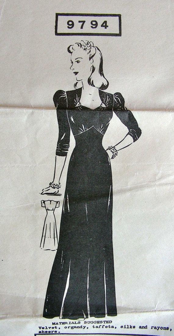 Vintage 1940s Superior Designer Pattern 9794 * GLAMOROUS High Waisted Evening Dress * Size 20..bust 38