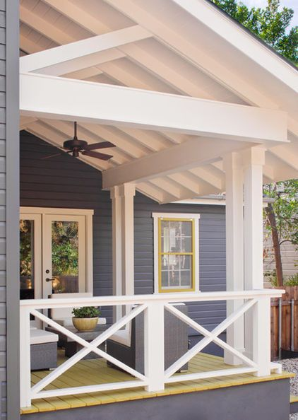 X Shaped Porch Railing With A Grey/lime Color Palette   Big Style For
