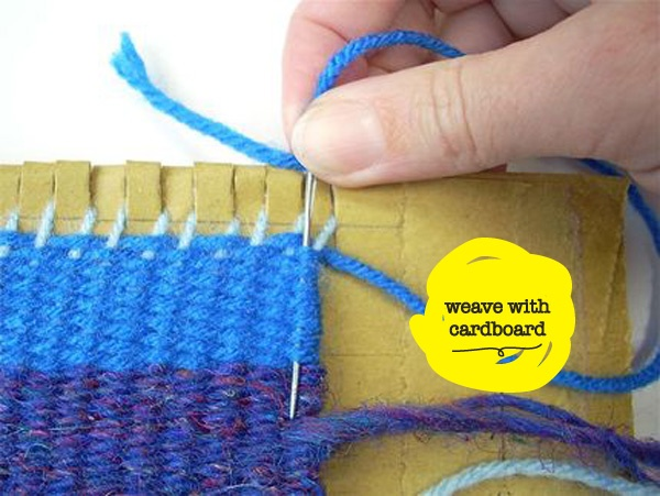 Weave on cardboard -- I REALLY enjoyed this when we did it in school!