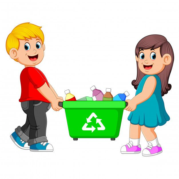 Two Children Carry On Recycle Bin Recycling Kids Clipart Second Child