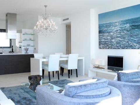 modern beachy condo decor...love!