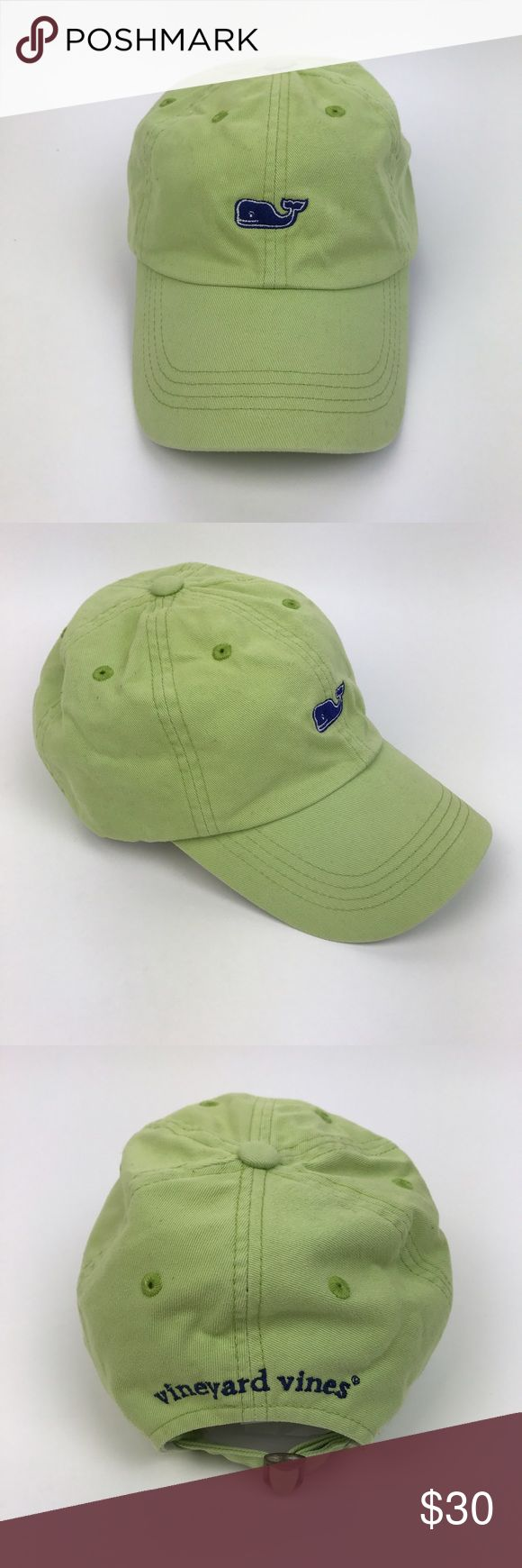 [Vineyard Vines] Whale Logo Baseball Cap Hat Green Classic cotton baseball hat. Whale logo embroidery on front. Spell out logo on back. Adjustable strap back. Curved Brim.  🔹Condition: Very Good pre-owned condition. Some small stains/marks on interior of Brim/under lid. See photos. Vineyard Vines Accessories Hats