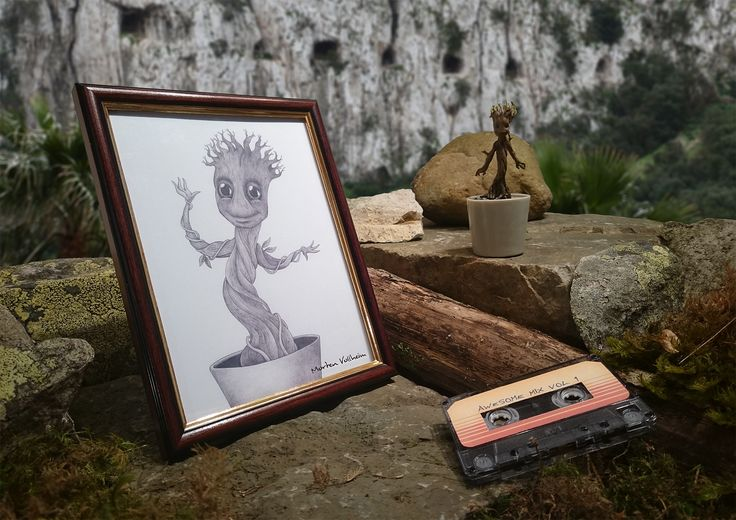 """""""We are Groot"""" Baby Groot from the movie Guardians of the Galaxy. This shows him happy, dancing and growing back into action after basically dying to save his friends. Ballpoint pen drawing. © Morten Vollheim"""