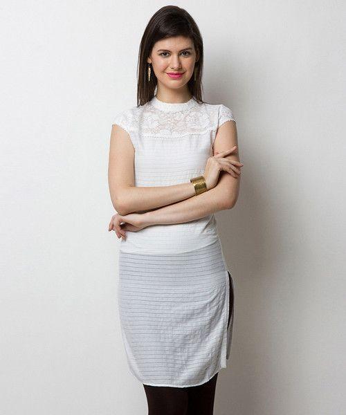 Yepme Reyna Stripes Kurti - White