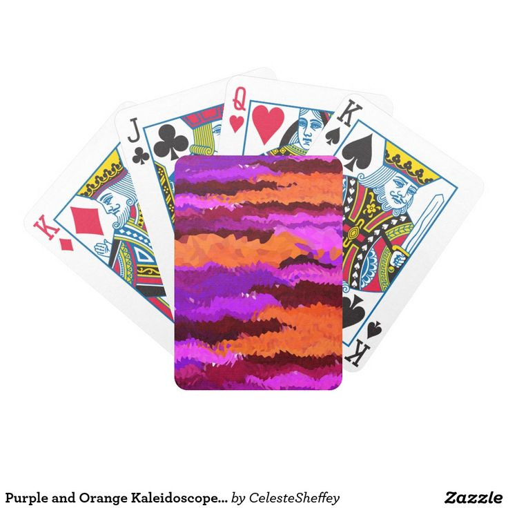 Purple and Orange Kaleidoscope Waves Bicycle Playing Cards