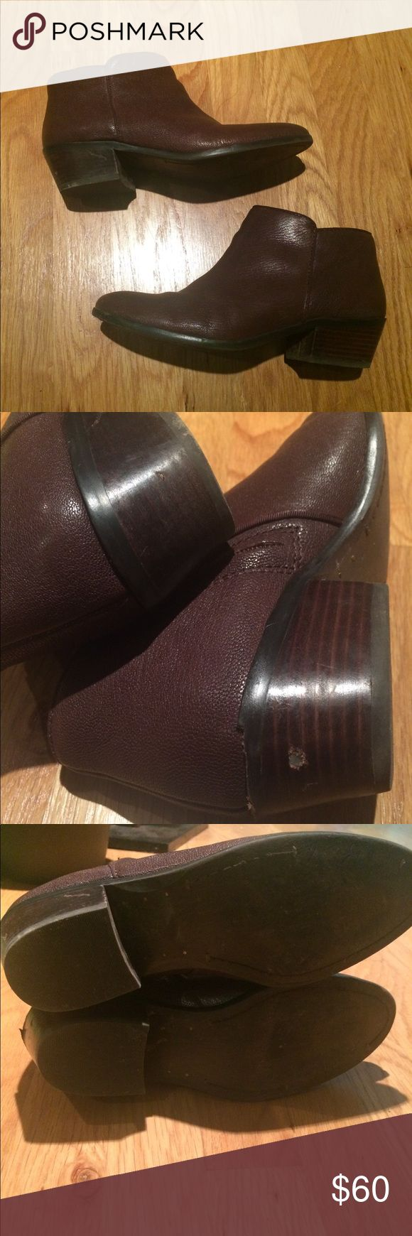 Sam Edelman chocolate brown leather side zip boots Great chocolate leather ankle booties. Some wear to heels as shown but otherwise solid shape with plenty of life left! Sam Edelman Shoes Ankle Boots & Booties